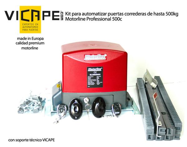 Automatismo fabricado en Europa con materiales de alta resistencia, y fácil de instalar: con fotocélulas, 2 mandos y 4m de cremallera.