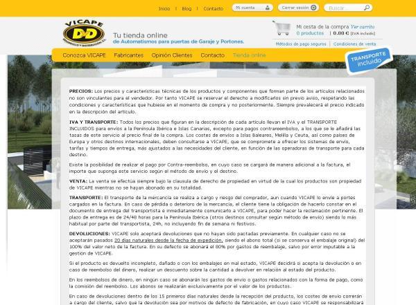 captura de la web www.vicape.com y su sección de condiciones de venta